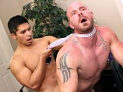 Straight guy Horny boss got banged and jerks off by his man