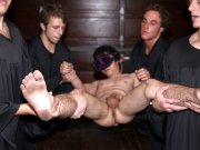 Group Sex Frat guys must choose to suck a big cock or leave