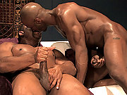 Black Race Cooper and Aron Ridge are live and naked in the Hard Friction studio. Race is quickly on his knees before giant Aron gulping down his massive cock. This is a very big man with a very large dick! Aron returns the favor...